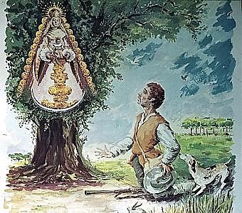 Escena tradicional que reproduce el momento en el que el cazador Gregorio Medina encuentra la imagen de la Virgen del Rocío
